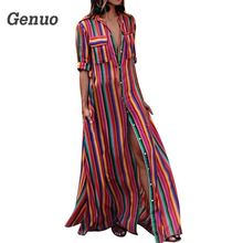 Genuo Women Summer Dress Printing Loose Rainbow Striped Button Long Shirt Maxi Bohemia Belt Short Sleeve Sexy Casual
