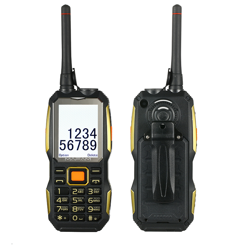 Mobile cellphone with UHF Walkie Talkie wireless with belt clip Tachograph <font><b>power</b></font> bank facebook Rugged shockproof outdoor P156