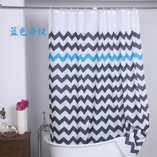 Modern Simple Style Stripes Shower Curtain Polyester Waterproof Mould Proof Shade Partition Shower Curtain 180x180cm