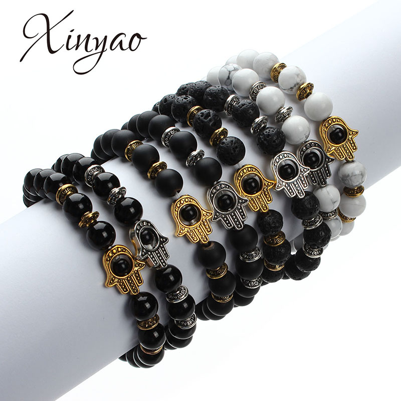 XINYAO 2017 Natural Stone Black Lava Beads ձեռնաշղթա Տղամարդկանց Ոսկի Գույն Hamsa Ձեռքի հմայքը Energy Yoga Mala Ապարանջաններ կանանց համար F2830