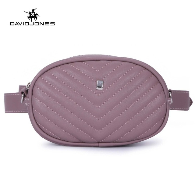 DAVIDJONES women belt bags pu leather female fanny packs mini lady solid waist bag girl brand messenger bag banana drop shipping