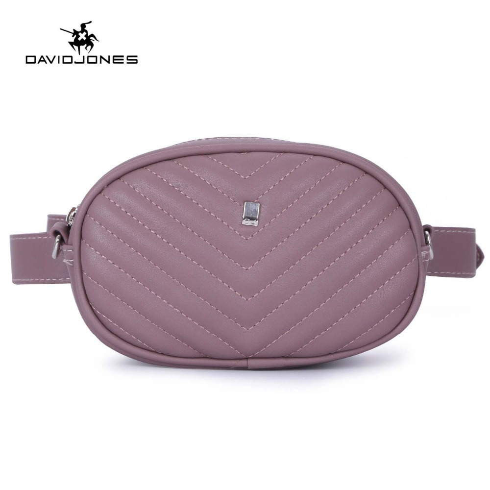 DAVIDJONES women belt bags pu leather female fanny packs mini lady solid waist bag girl brand messenger bag banana drop shipping