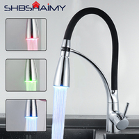 LED Chrome Polished Black Pipe Kitchen Sink Faucet Deck Mounted Kitchen Cold and Hot Water Mixer Tap Brazil fast arrival