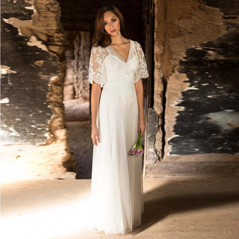 LORIE Plus Size Wedding Dress High Waist A-Line Chiffon Appliques Lace Short Sleeves White Ivory Bride Dress Wedding Gown 2019