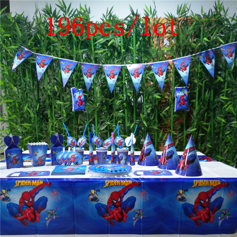 196pcs/lot Spider Man Theme Child Boy Birthday Party Tableware Wedding Disposable Paper Cup Plate Invitation Card Banner Supply
