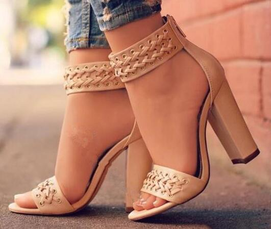 fdc03aab8a4 Braide Decorated Chunky Heel Sandals Nude Color Thick High Heels Open Toe  Cover Heel Back Zipper