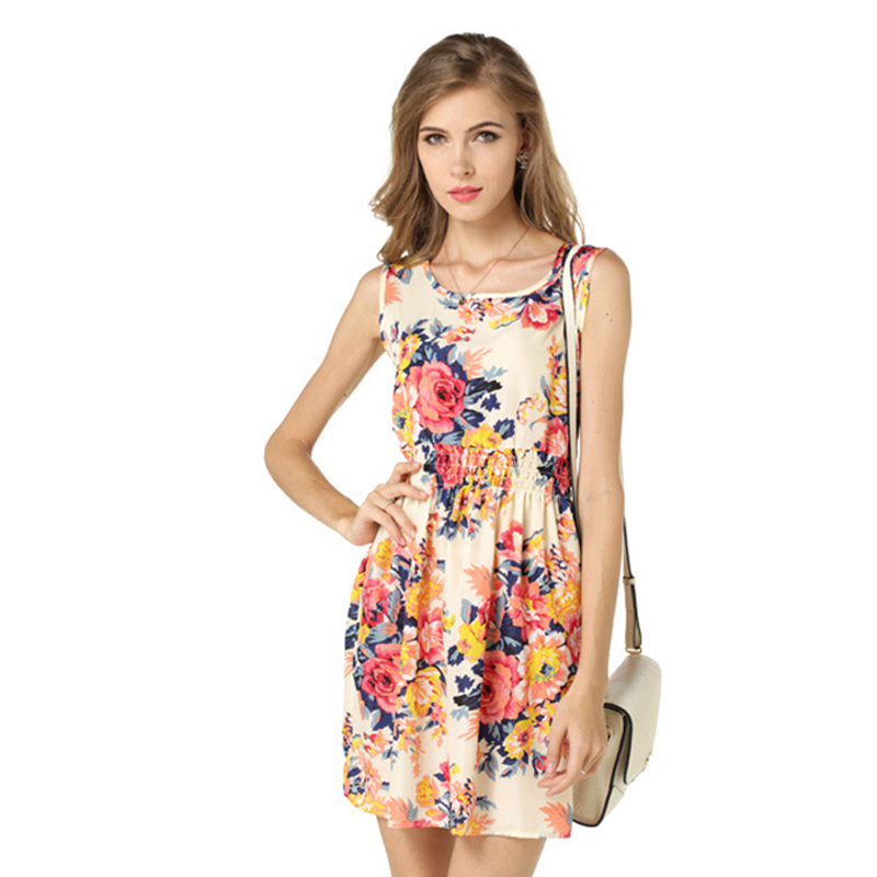 JTCY Women Summer Print Dress Casual Floral Sleeveless Dress Female Elastic Waist Mini Length A Line Beach Dress in Dresses from Women 39 s Clothing
