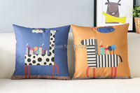 45X45cm Vintage Cushion Cover Pillow Case Cover Throw Linen Decor Home Zebra And Giraffe Cushion CoverCute