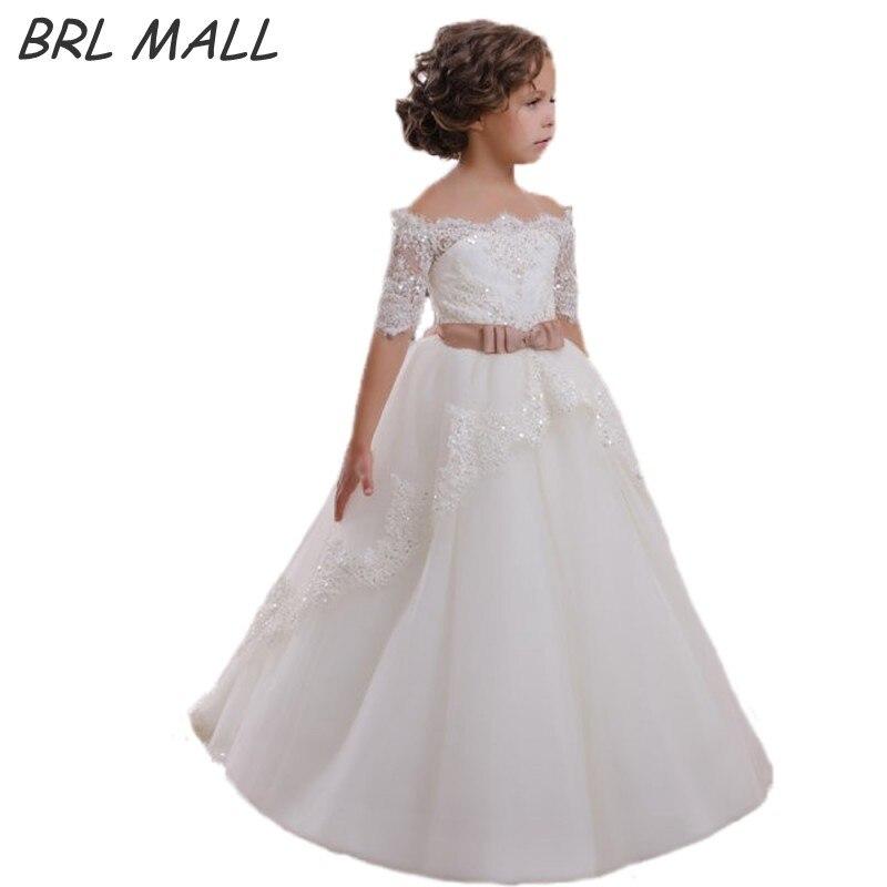 Off Shoulder White flower girl dresses for weddings with Bow Half ...