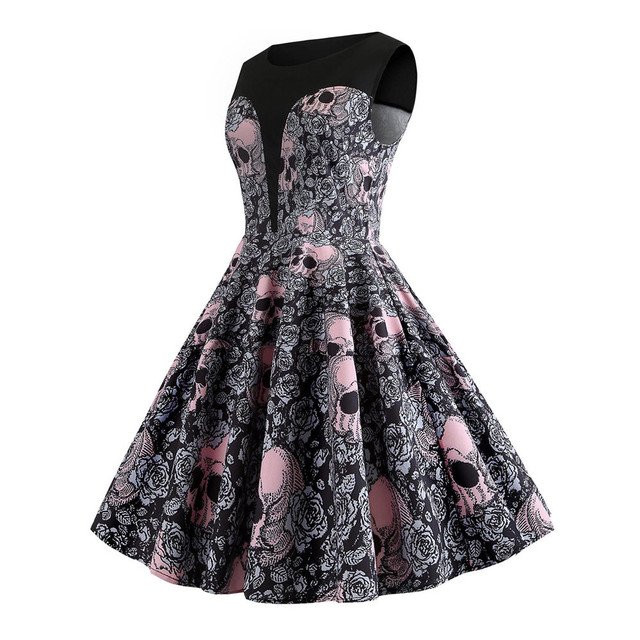 Audrey Hepburn skull printed floral rockabilly pin up dresses elegant women vintage sleeveless retro plus size vestidos 1