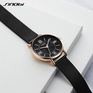 Image 4 - SINOBI Hot Sale Classic Women Watches Black/Golden Luxury Simple Stainless Steel Bracelet Watch Ladies Wristwatch Reloj Mujer