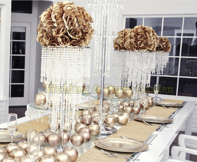 Crystal Wedding Centerpiece Bling Table Chandelier Flower Stand Supply