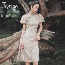 Trytree, летнее женское платье, повседневное, элегантное, воротник-стойка, китайская Пряжка, кружевные платья, пышные рукава, длина до колен, платье чонсам