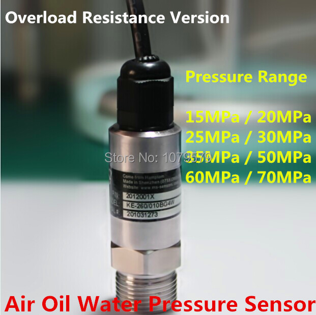 Overload Resistance 10~28VDC 4~20mA Water Supply Pressure Sensor 15 20 25 30 35 50 60 70 MPa Air Oil Water Pressure Transmitter pressure transmitter pressure transducer 12 24v 4 20ma for air oil gas water 0 400bar directly connector type