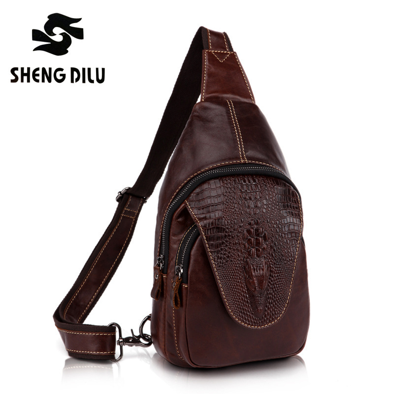 new 2016 genuine Leather Crocodile / Alligator Pattern men Vintage messenger bag waist pack Men's bags chest pack waist bag 3864 new 2016 genuine leather crocodile alligator pattern men vintage messenger bag waist pack men s bags chest pack waist bag 3864
