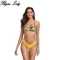 Rhyme Lady sexy printed bikini set high waist Swimsuit Push Up Swimwear women hot sale bikini 2019 summer brazilian bathing suit