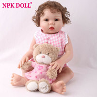 NPKDOLL 18 Full Body Silicone Reborn Baby Doll lol Handmade Gifts Doll Girl Pink Dress with Gift Teddy Bear Curly Hair