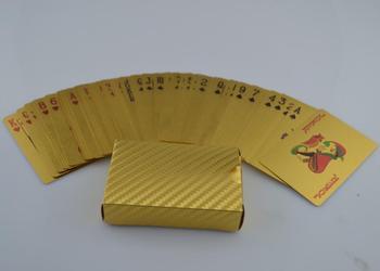 1pc Golden Playing Cards Deck gold foil poker set Magic card 24K Gold Plastic foil poker Durable Waterproof Cards magic