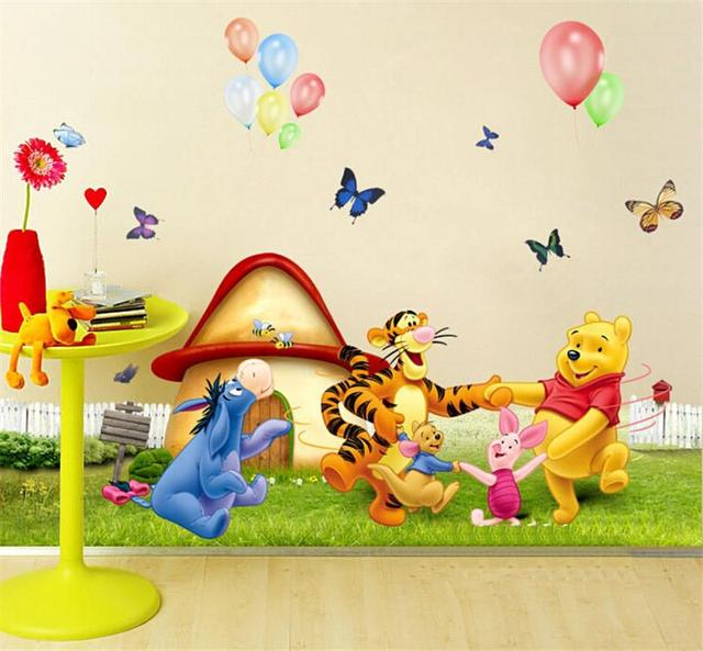2 Pieces Winnie The Pooh Home Decor For Kids Room Cartoon DIY Decoration Wall  Stickers Child
