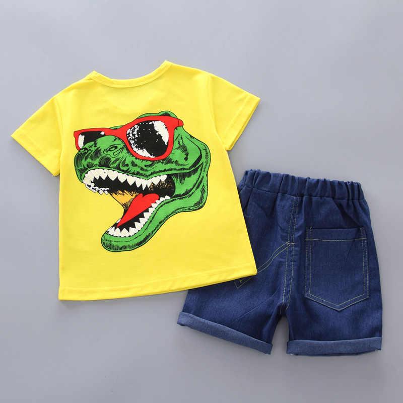 Ropa de bebé niño 2019 verano coreano nuevo algodón dinosaurio Camiseta de manga corta + Pantalones cortos 2 piezas Niña trajes niños Bebes traje de Jogging