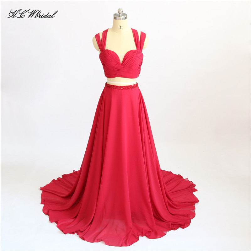 Sexy Red 2 Piece   Prom     Dresses   Sweep Train Criss Cross Back Beaded Chiffon Long Formal Evening Gowns Vestido Longo Fast Shipping