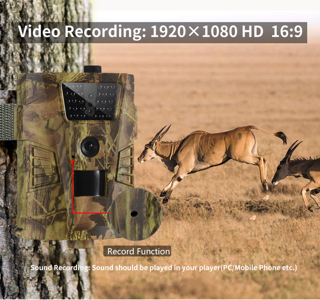 Wildlife Trail Camera HT001B Infrared Night Vision Hunting Cameras 12MP Outdoor Wild Surveillance Tracking 6