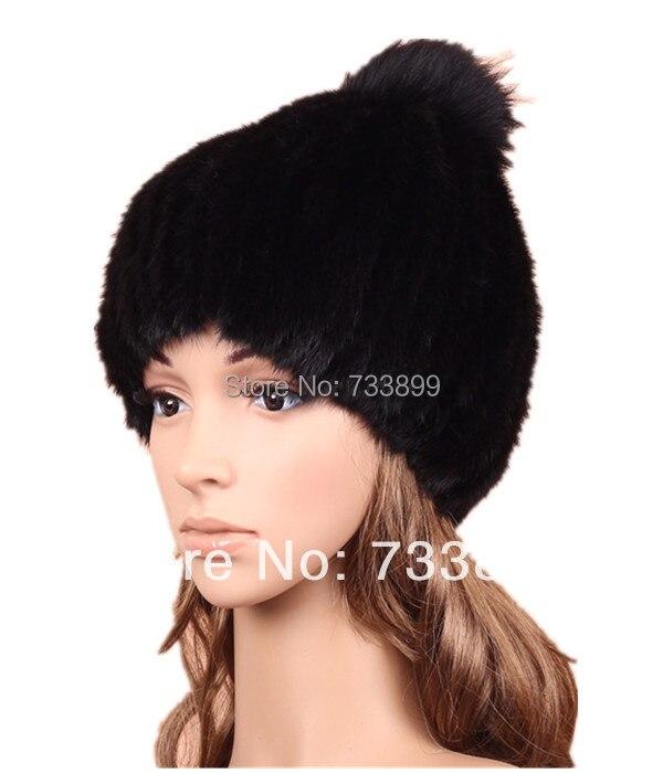 ФОТО handmade knitted women cap with fox fur ball,H293 White,Black,Brown Whoelsale ear protector winter genuine Mink fur Hat