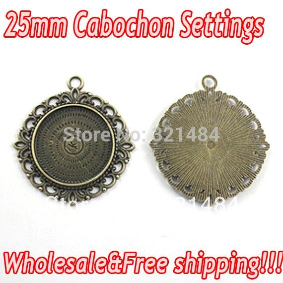 Vintage Antique bronze brass alloy metal 100pcs 25mm round Pendant Blank Base Tray Bezel Cameo Cabochon