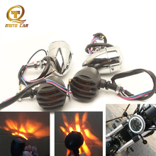 Motorcycle Signal Lamp 10MM Scooter Escape LED Turn Light Black Chrome Silvery for Vintage Harley-Davidson Cafe Racer