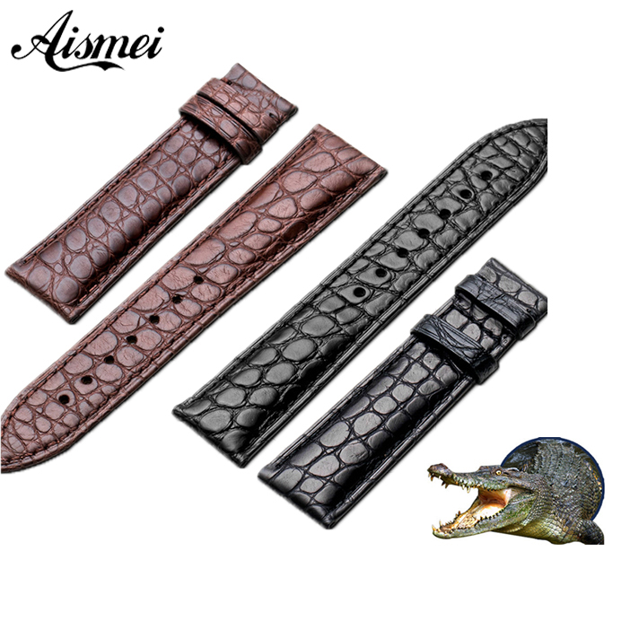 Watchband 12mm 14mm 16mm 18mm 20mm 22mm 24mm Alligator Full-grain Crocodile Grain Genuine Leather bands Black Brown Watch Strap все цены