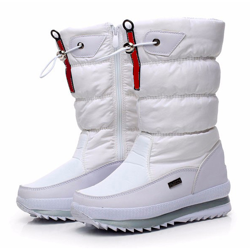 Botas para mujer de alta calidad 2018 Nueva plataforma impermeable antideslizante Botas de nieve Zapatos de invierno de mujer blanca
