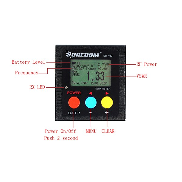 Hot Black SURECOM  SWR Meter SW-102  (8)