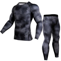 Mens Compression Pants Set Running Tights Workout Fitness Training Tracksuit