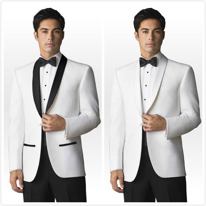 Wholesale Custom Made Black And White Satin Lapel Groom Tuxedo