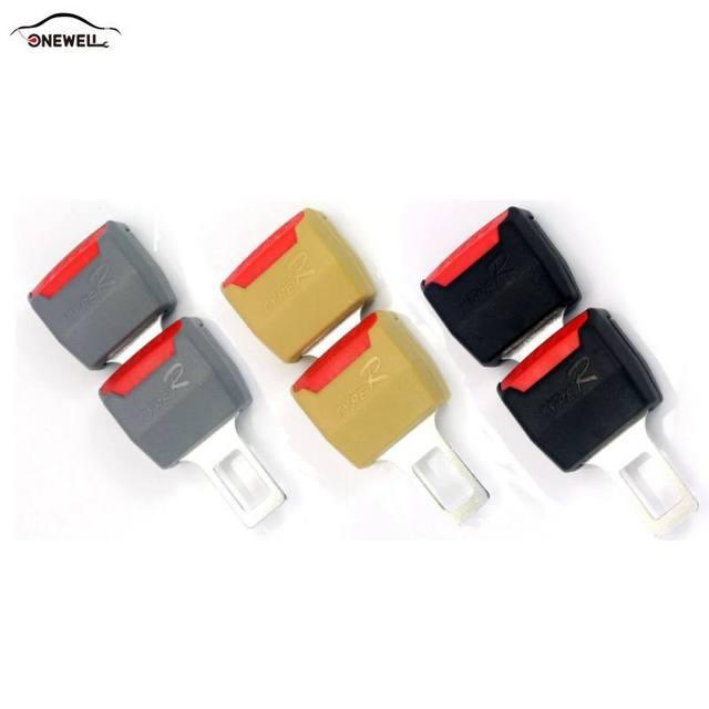 2 Color 1pc Car Seat Belt Clip Extender Safety Seatbelt Lock Buckle Plug Thick Insert Socket Black / Beige
