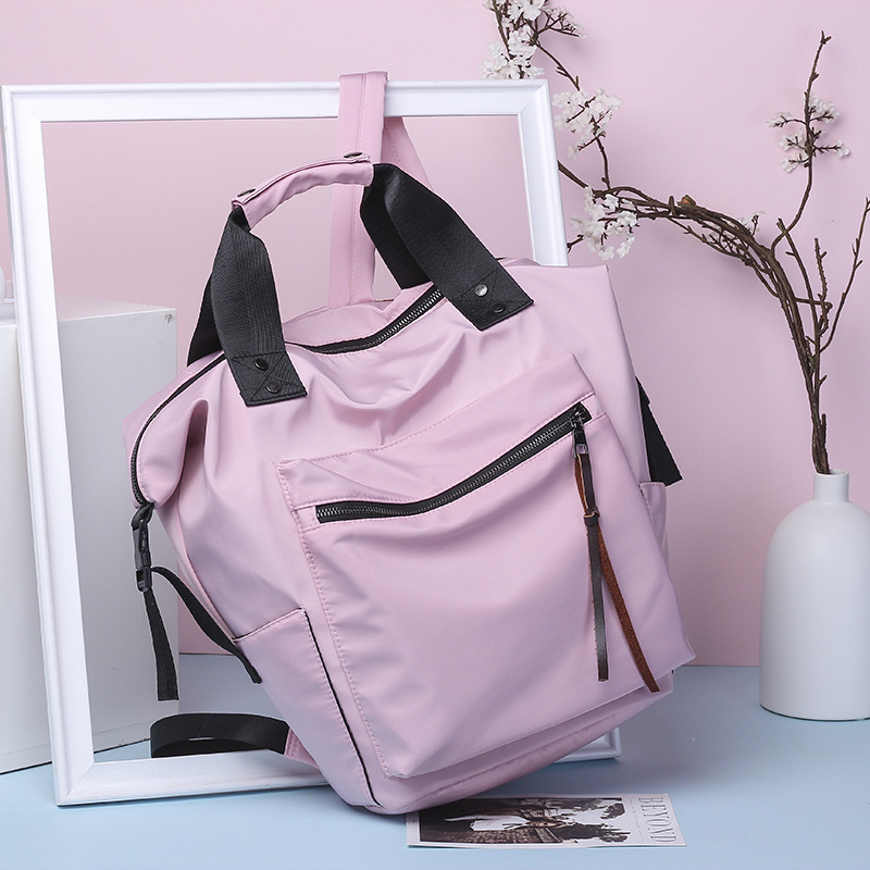 HTB1rZdravvsK1Rjy0Fiq6zwtXXas Fashion Nylon Waterproof Backpack Women Large Capacity Schoolbags Casual Solid Color Travel Laptop Backpack Teen Girls Bookbags