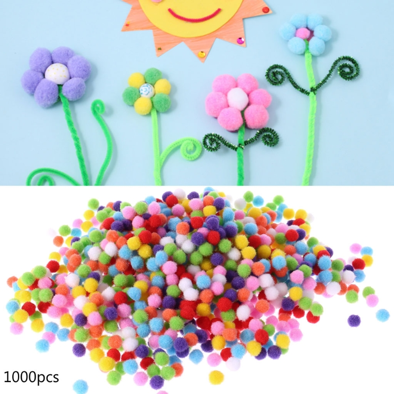 1000Pcs Soft Round Fluffy Craft PomPoms Ball Mixed Color Pom Poms <font><b>10mm</b></font> Children Kids Toys DIY CraftRamadan Festival Gift image