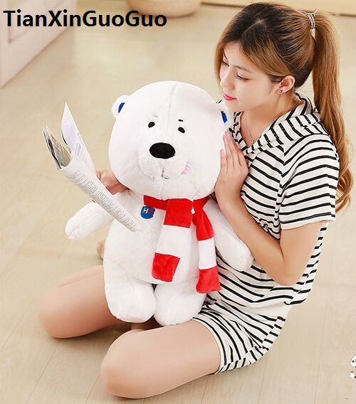 stuffed toy lovely scarf white polar bear large 60cm plush toy soft doll throw pillow birthday gift h2995 big cute simulation polar bear toy handicraft lovely white polar bear doll gift about 31x18cm