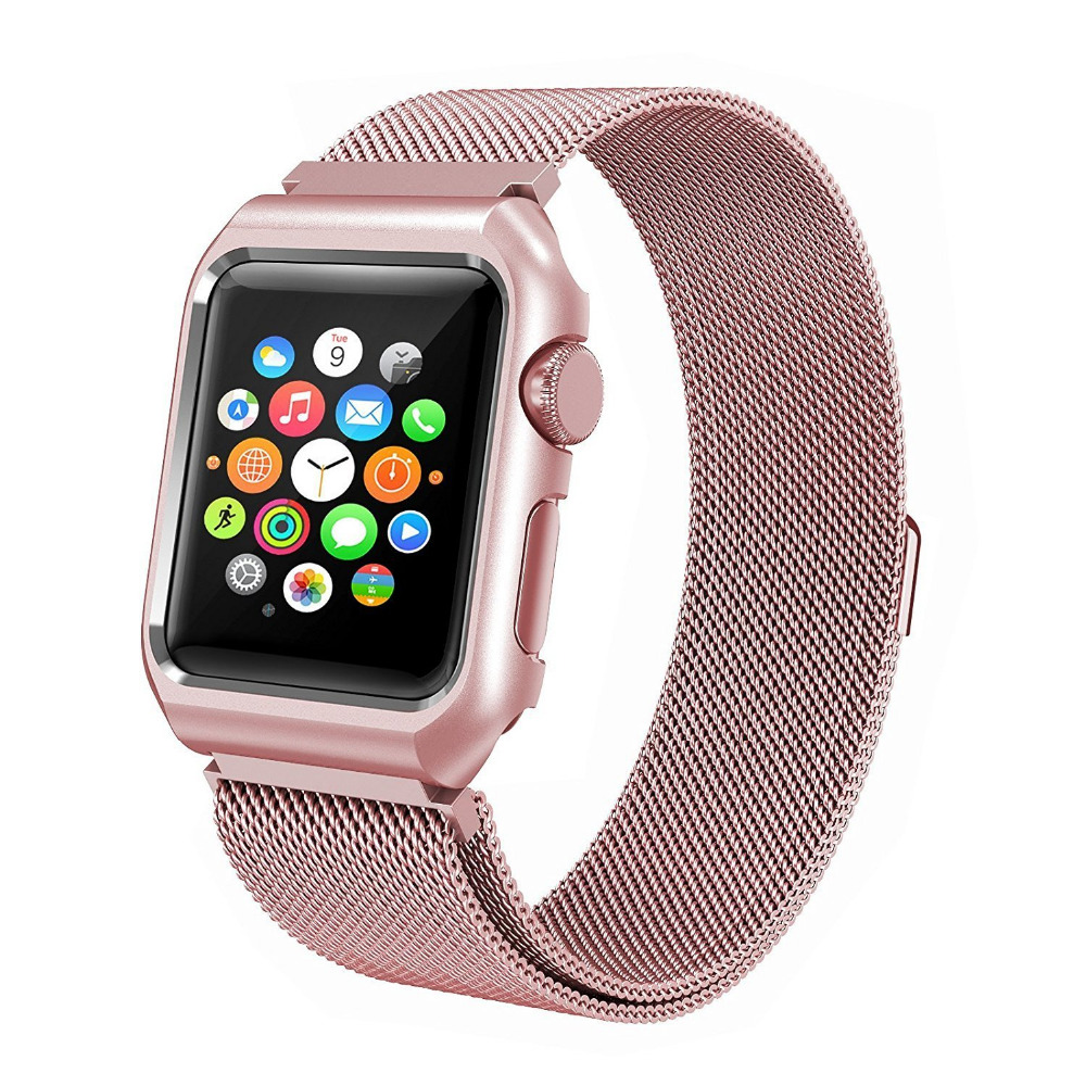 Milanese Loop With Metal Bumper Case für Apple Watch Band Serie 3 2 - Uhrenzubehör - Foto 3