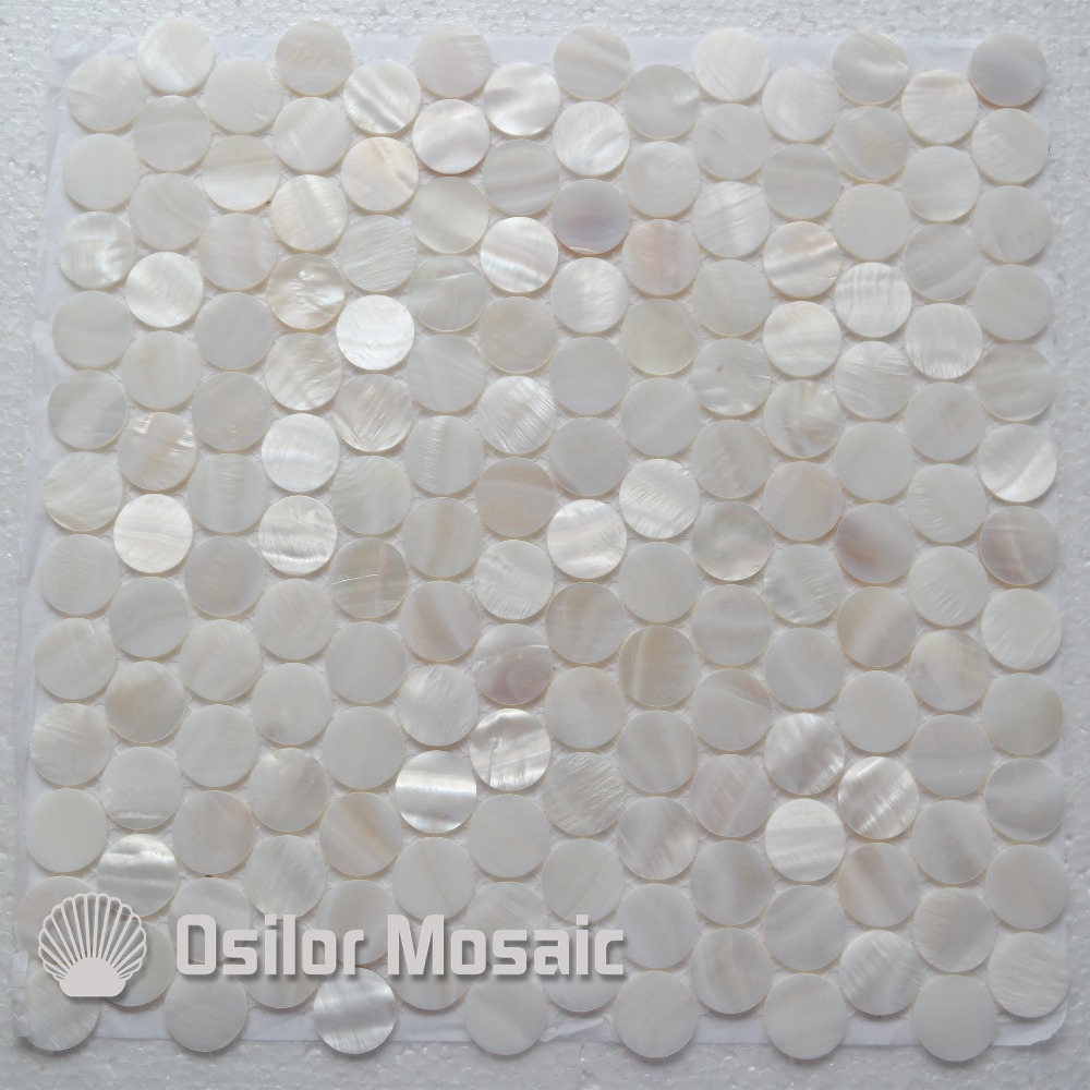 White color 100% Chinese freshwater shell mother of pearl mosaic tile for interior house decoration round chips wall tiles brick pattern 100% blacklip sea shell natural black color mother of pearl mosaic tile for interior house decoration wall tiles