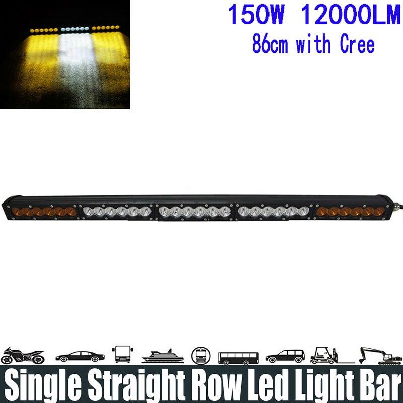 """150 W 32 """"bílá žlutá žlutá jednořadá LED světelná lišta Bodové / povodňové / kombinované paprsky"""