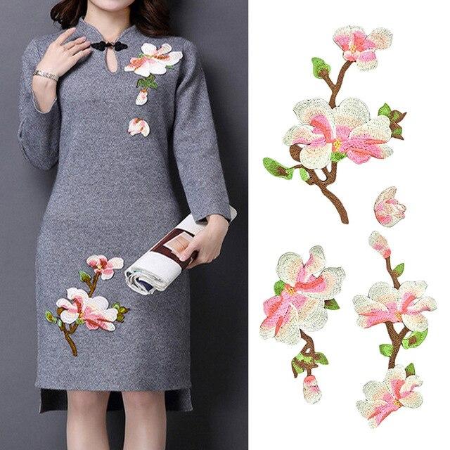 Pcs elegant embroidery magnolia flower diy clothes