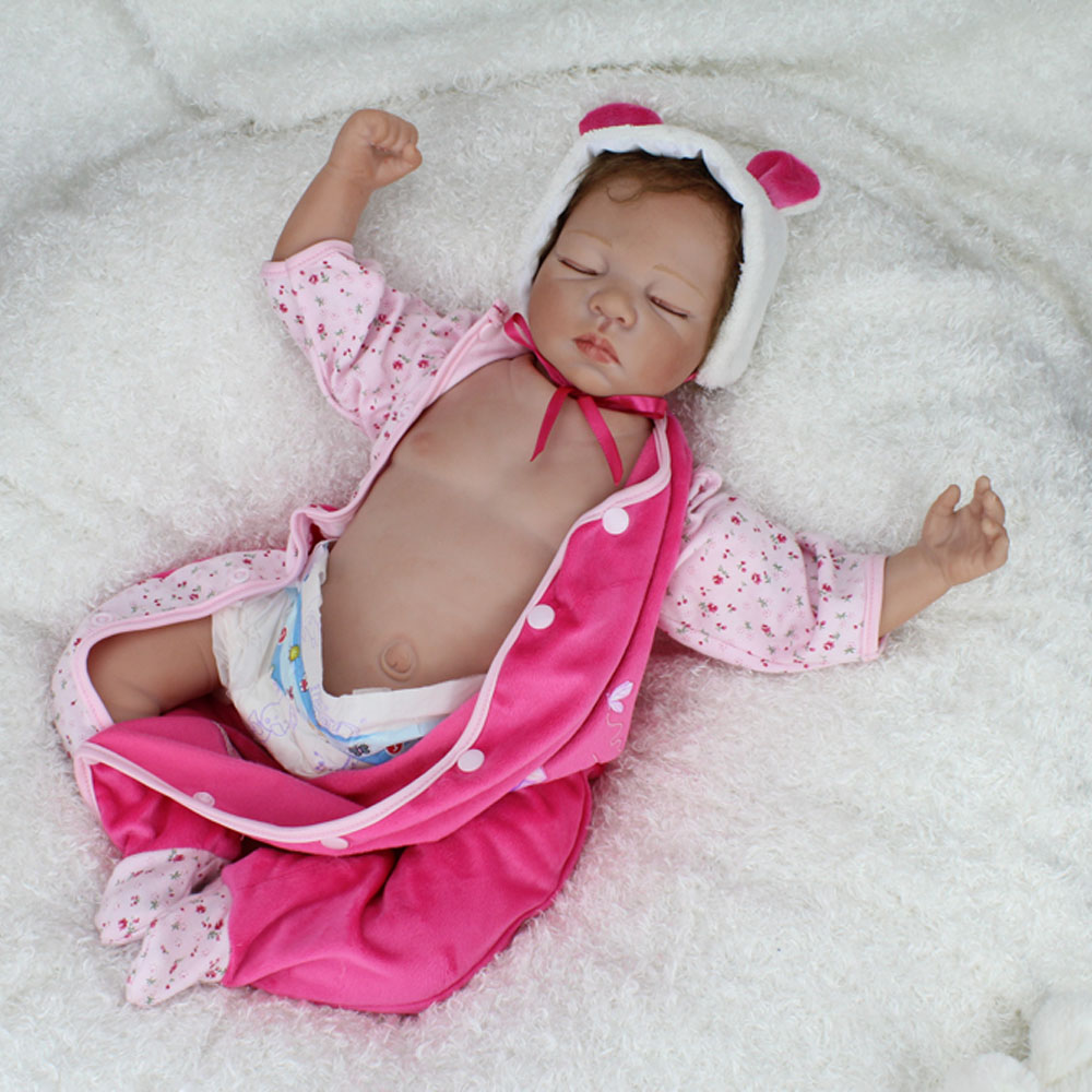 55CM 22 inch Silicone Reborn Baby Dolls Lifelike Newborn Baby Alive Realistic Kids with Belly Plate Girl Toy Birthday Gift