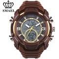 SMAEL Nuevo S Choque Hombres Del Reloj Digital de Cuarzo Marrón Grande Dial Relojes Deportivos Para Hombres de la Marca de Lujo Militar LED A Prueba de agua reloj de pulsera