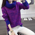 One Size Winter Women Pullovers 2016 Autumn Fashion Loose Long Sleeve Turtleneck Mixed Color Sweaters 4 Color