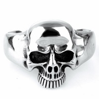 316L Stainless Steel Huge Heavy Skull Mens Biker Rocker Punk Bracelet Bangle Cuff S100