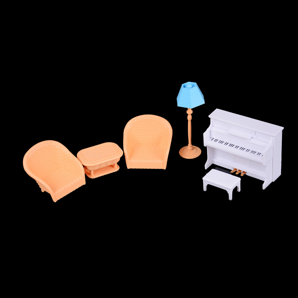 1set Dollhouse Furniture Sofa Piano Table Sylvanian Family Accessories Miniature Furniture Sets Gift Furniture Toys For Kids