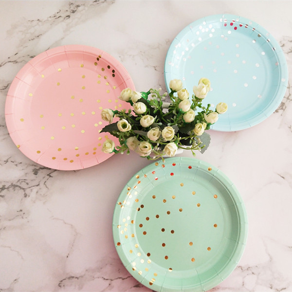 Dessert Plates Premium Quality Paper Plates Dark Pink /& Gold Confetti Cake Plates 7 Party Supplies The Party Darling Pink Dots