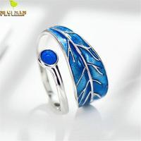 Flyleaf 925 Sterling Silver Blue Drop Glaze Leaves Open Rings For Women Creative Design Lady Fashion