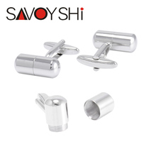 Novelty Capsule Cufflinks High Quality Brand Cuff Bottons Hollow Cylinder Cuff links for Mens Shirts Fashion SAVOYSHI Jewelry